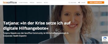 Vorschau: Lexoffice-Interview mit Wirtschaftspsychologin und Corporate Health Expertin Tatjana Kippels